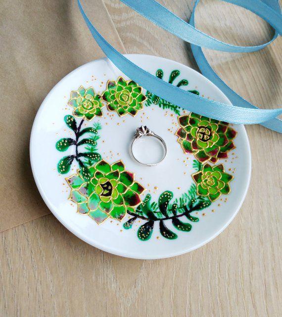Succulent Ring Dish Hand Painted Cacti Wreath Women Gift Ceramic