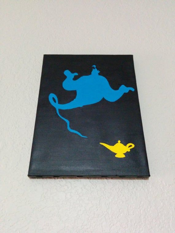 Items similar to Genie & His Lamp - Hand-painted Silhouette on Canvas on Etsy