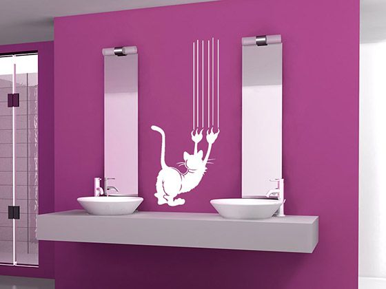 Kratzende Katze Im and In - wandtattoo für badezimmer