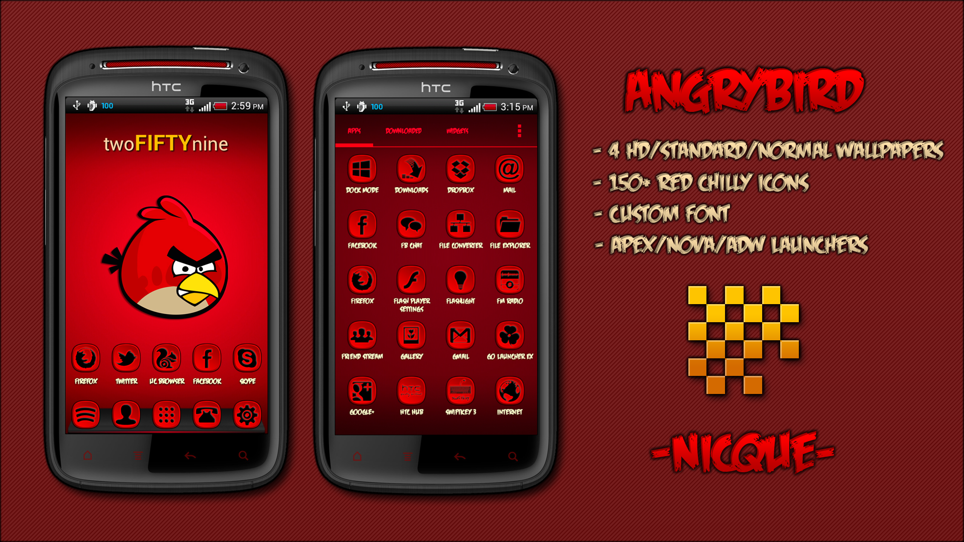 Angry Birds Theme By Navin Rai For Apex Launcher On Android Comes With 4 Hd Wallpapers And 150 Red Chilly Icons Free Normal Wallpaper Bird Theme Cool Themes