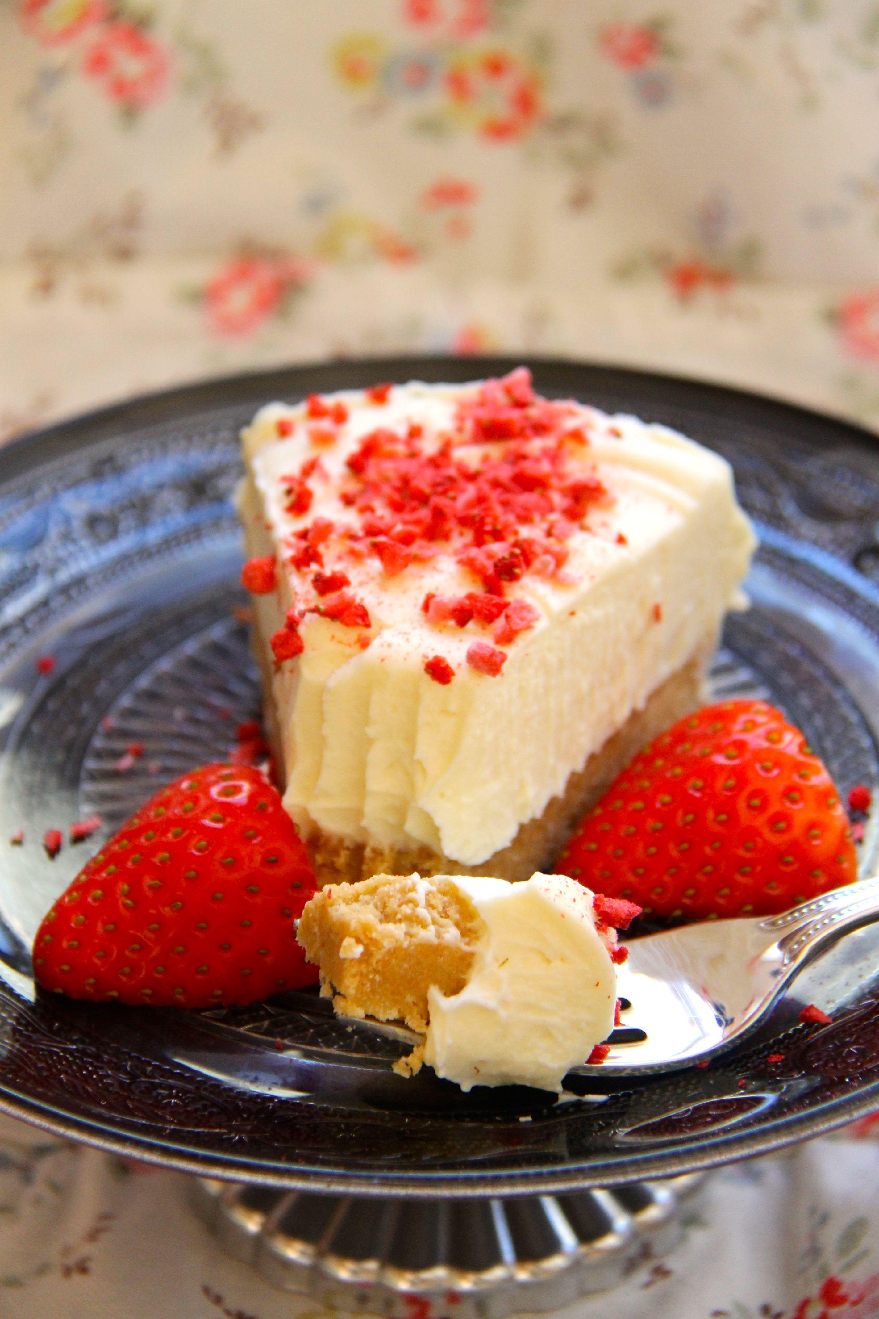 No Bake White Chocolate Strawberry Cheesecake Cheesecake