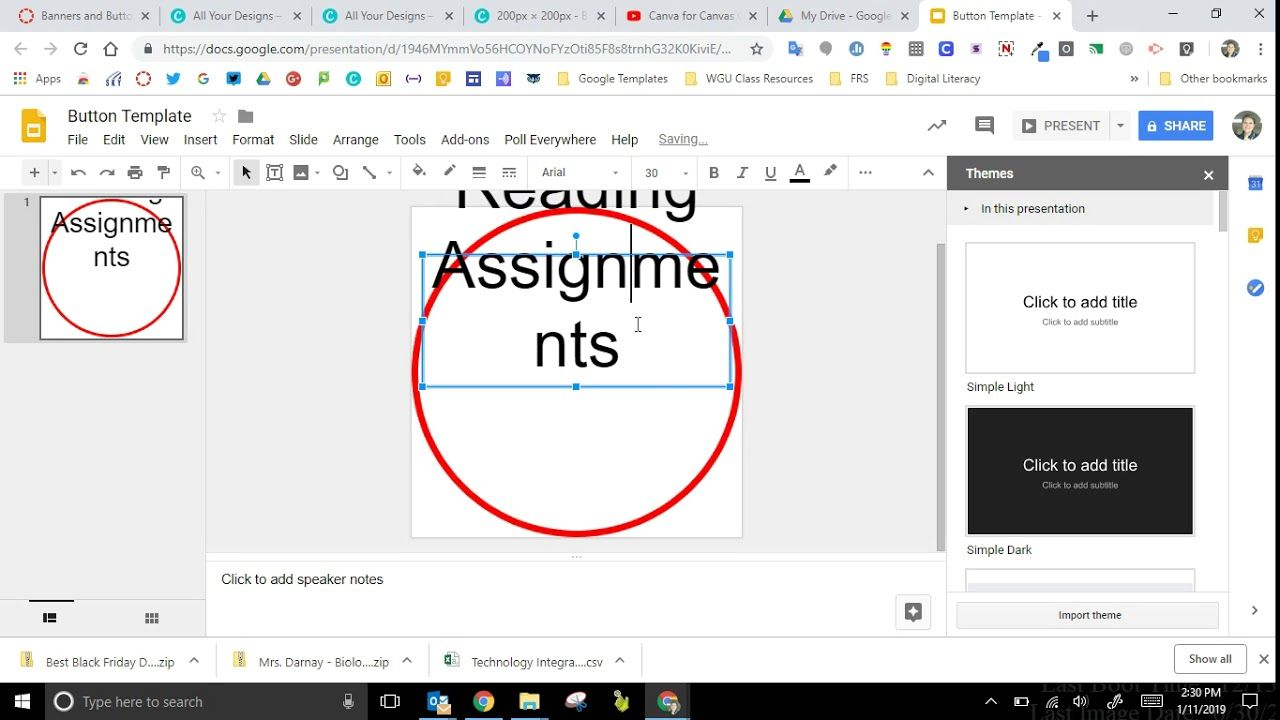 Use Google Slides To Make Canvas Banners And Buttons Youtube Canvas Banners Google Slides Writing