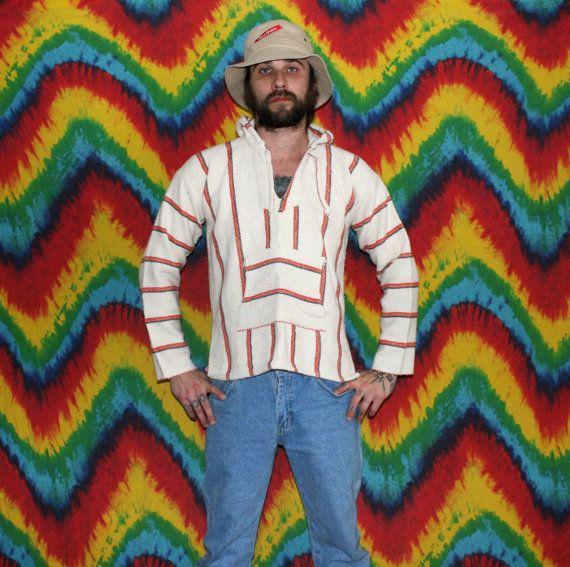 Hippie Drug Rug. Vintage Baja Hoodie. Retro Stoner Boho Beach Wear. White  Striped