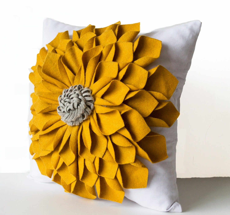 Dorm Pillows, Felt Flower Pillow Cover, Mustard Gray White Pillow Case, Floral Pillow, Anniversary, Wedding, Mother's Day Gift