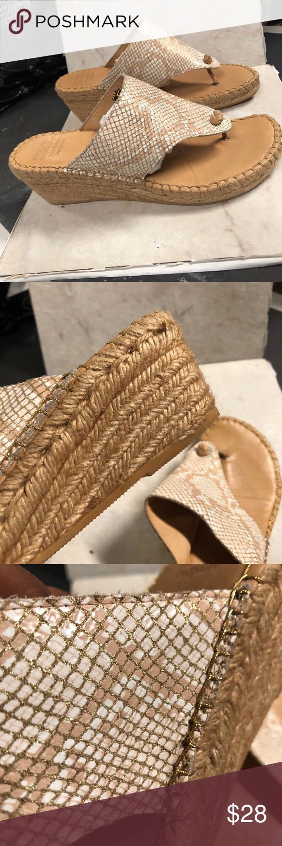 567929628 Andre Assous Espadrille Wedge Thong Sandals EUR 41 Sparkle Medium height  heel Slip on Wedge EUR 41 but fits size 10 Andre Assous Shoes Espadrilles
