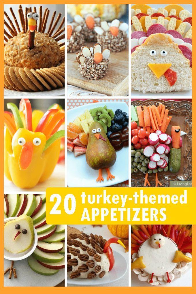 THANKSGIVING APPETIZERS: 20 fun turkey-themed snacks. #thanksgivingappetizersideas