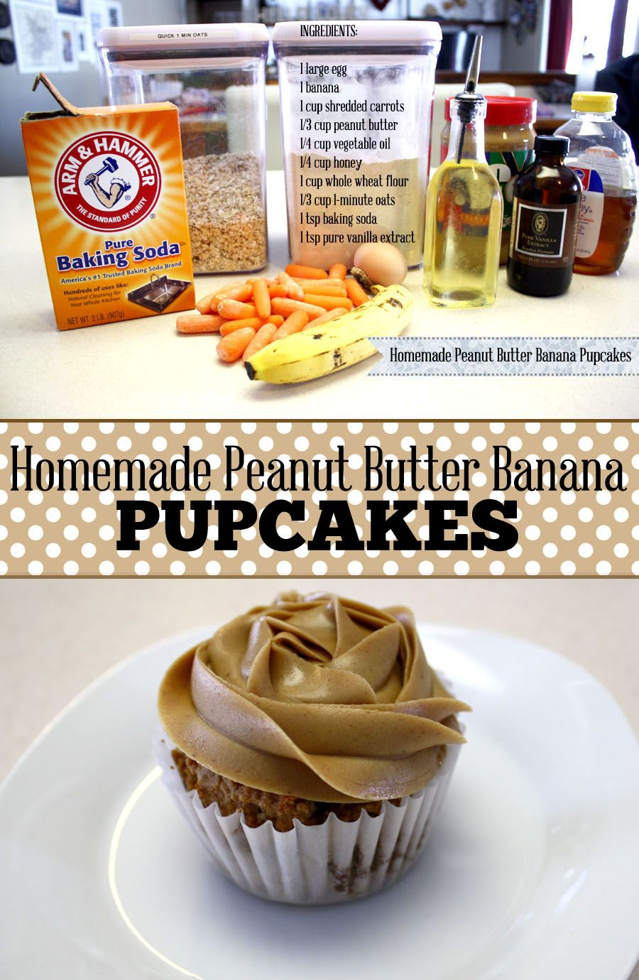 Peanut Butter Banana Pupcakes Recipe Homemade Dog Biscuits Dog