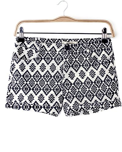 Elastic Geometric Pattern Print Hot Pants @yoyomelodydress