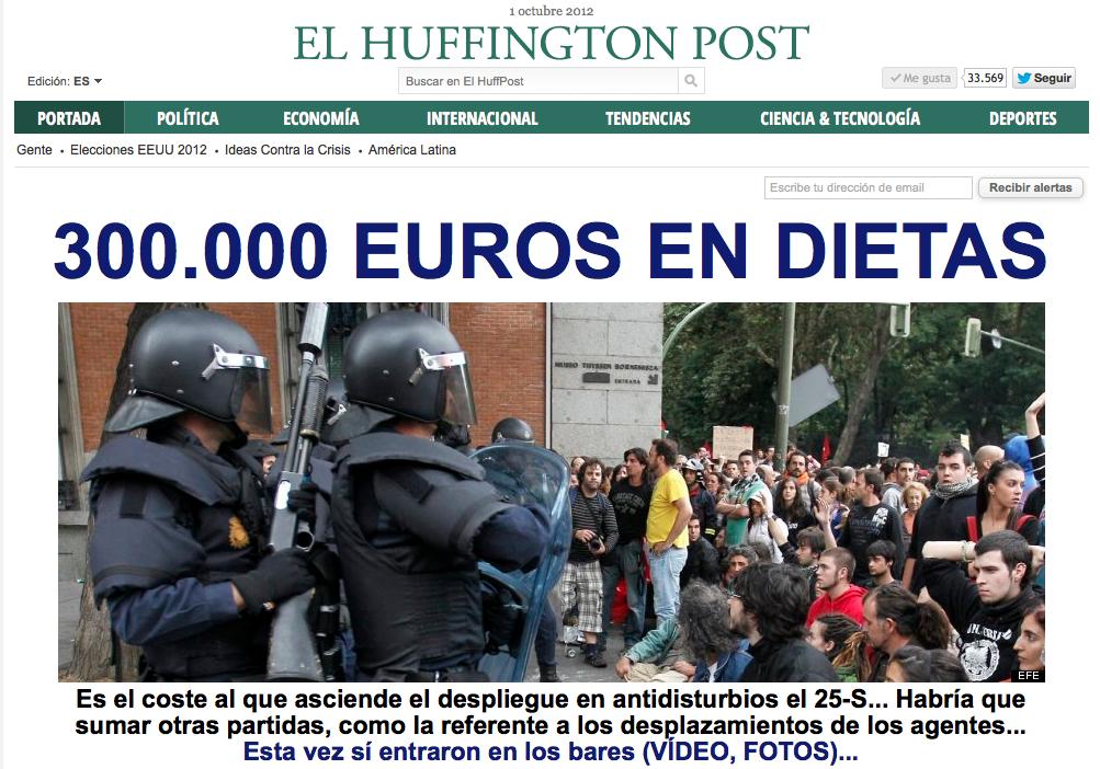 Solo en dietas, la manifestación costó 300.000 euros