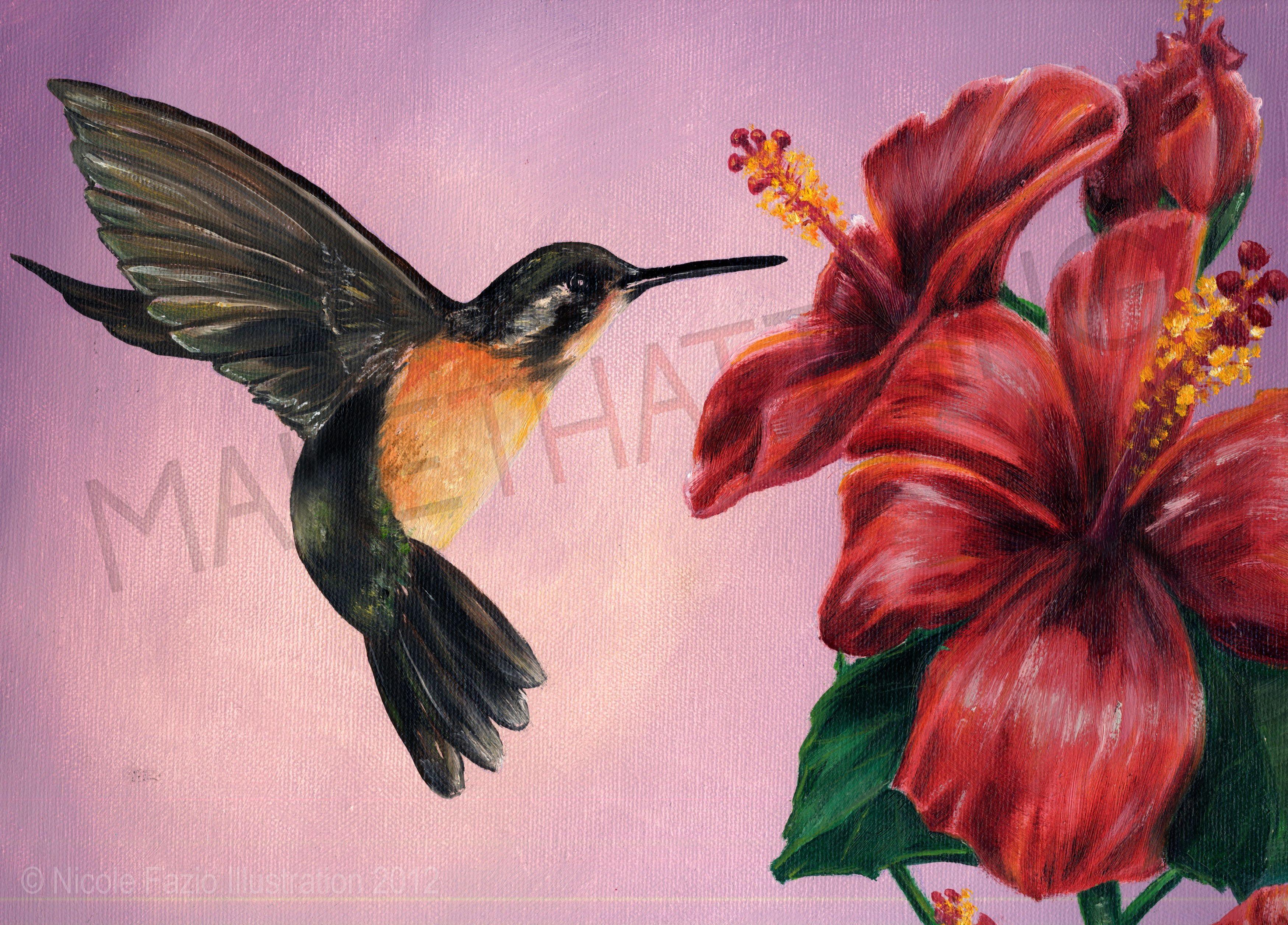 Hummingbird Oil Painting | Hummingbird, Paintings and ...