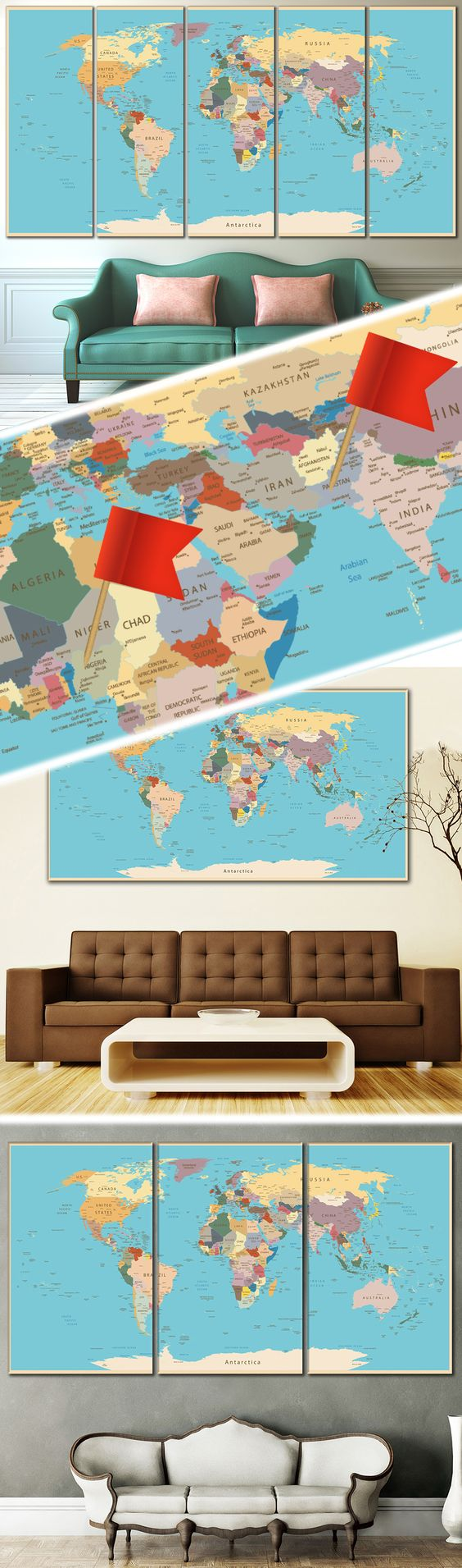 Push pin world map 807 canvas print office walls creative world map canvas prints wall art for large home or office wall decoration sale gumiabroncs Gallery