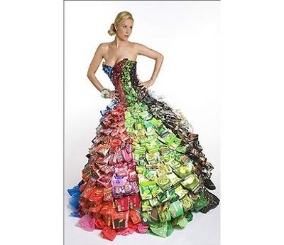 """""""Wrapper Girl"""" A dress made out of wrappers."""