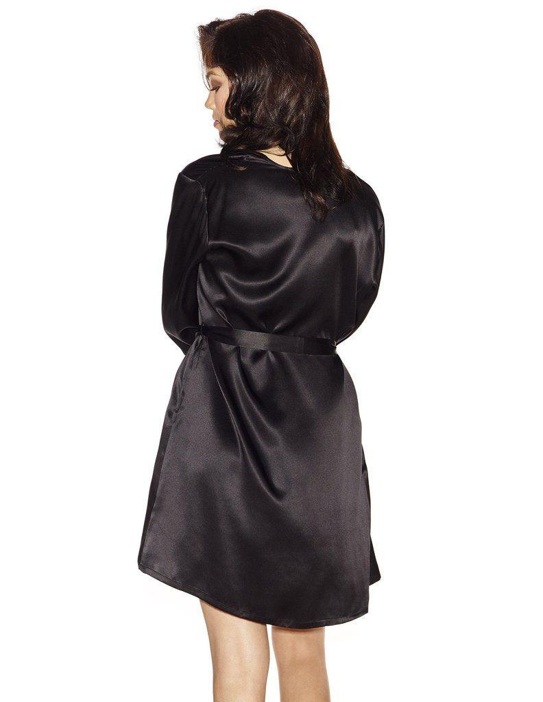 6b5c95c40686d3 Black silk Short Robes - Morgan Iconic Short Silk Robe in Black