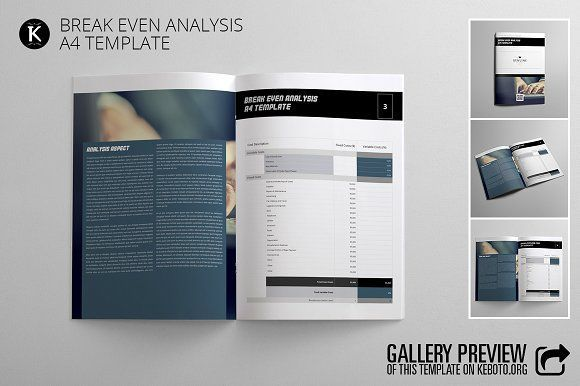 nice Break Even Analysis A4 Template CreativeWork247 - Fonts - breakeven template