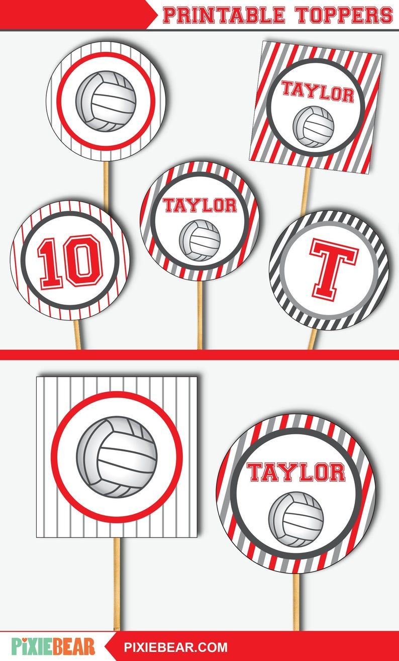 Volleyball Cupcake Toppers Volleyball Topper Volleyball Etsy Cupcake Toppers Printable Volleyball Party Easy Party Decorations