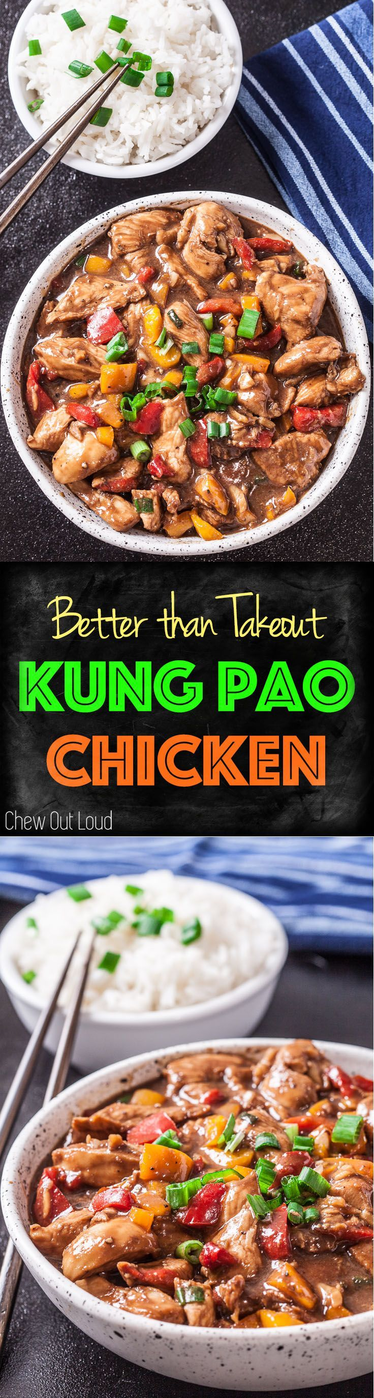 Healthy, Way Better than Takeout, Kung Pao Chicken!! So so flavorful. #kungpao #chicken #chinesefood...