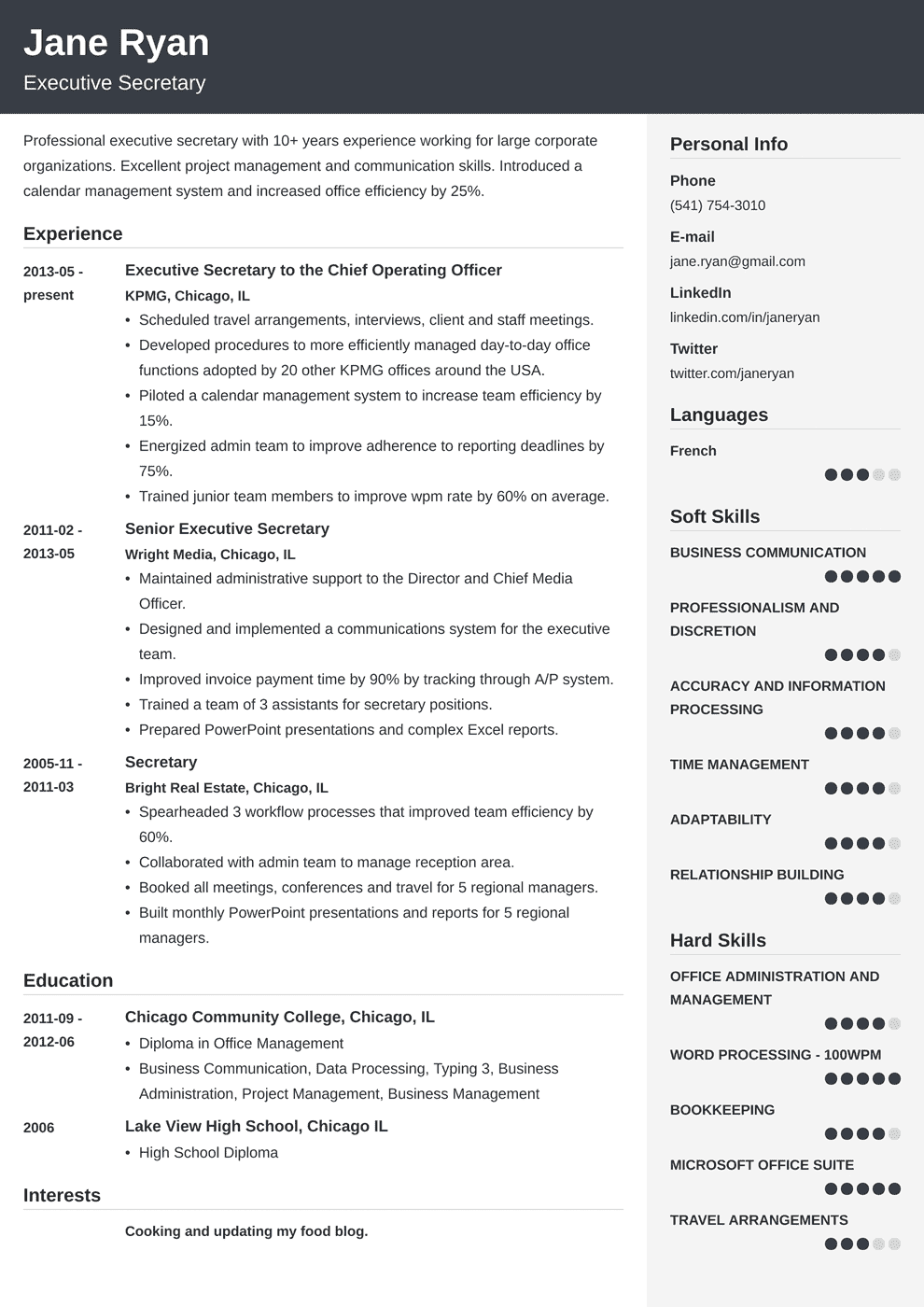 secretary resume template cubic in 2020 Resume examples