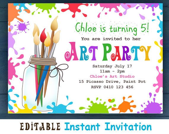 Editable Printable D I Y Art Party Invitation Children S Invitations Bright Colorful Party Announcement For Kids Edit At Home In 2021 Paint Party Invitations Art Party Invitations Art Birthday Party