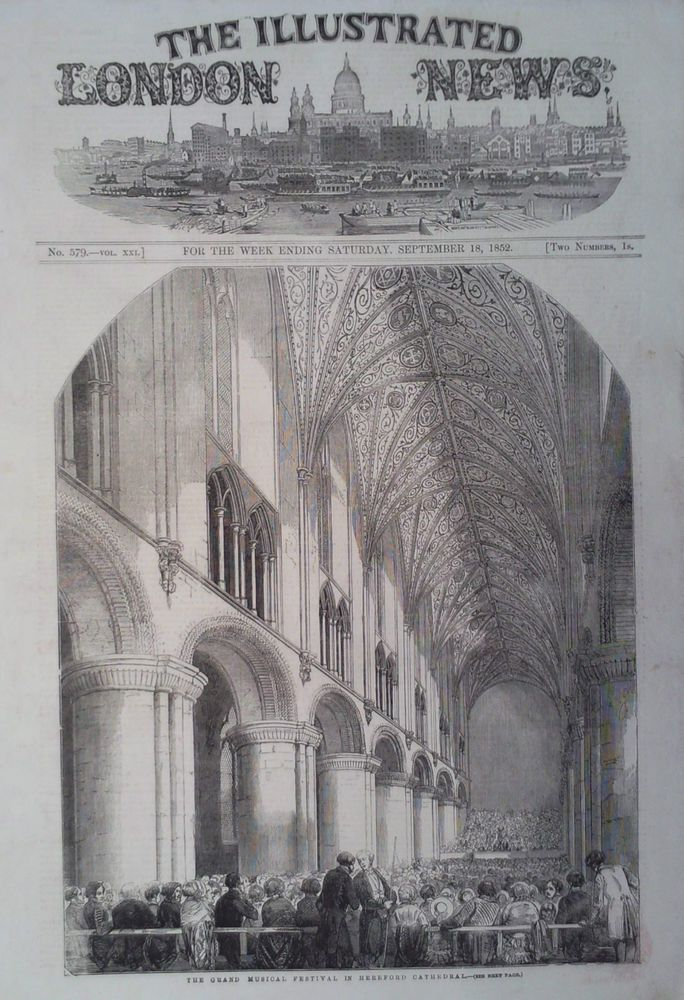 1852 PRINT THE GRAND MUSICAL FESTIVAL IN HEREFORD CATHEDRAL