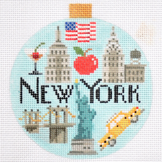 "Needlepoint Travel Round- New York by Kirk & Bradley Style: KB1260 Size: 4"" round Mesh Count: 18"