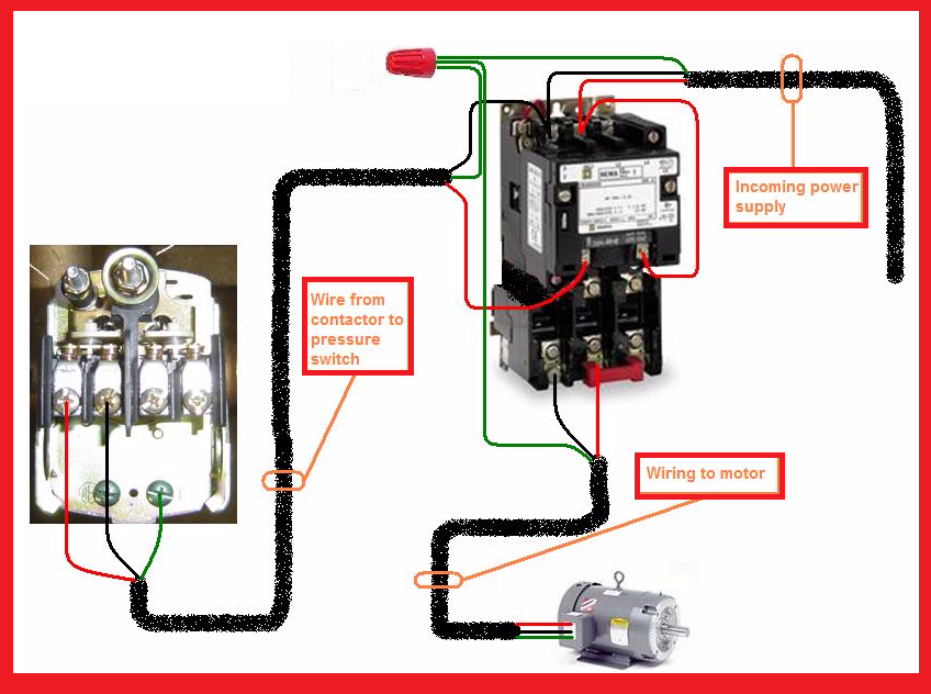 single phase motor contactor wiring diagram elec eng world w t rh pinterest com Motor Starter Wiring Diagram HVAC Contactor Wiring Diagram