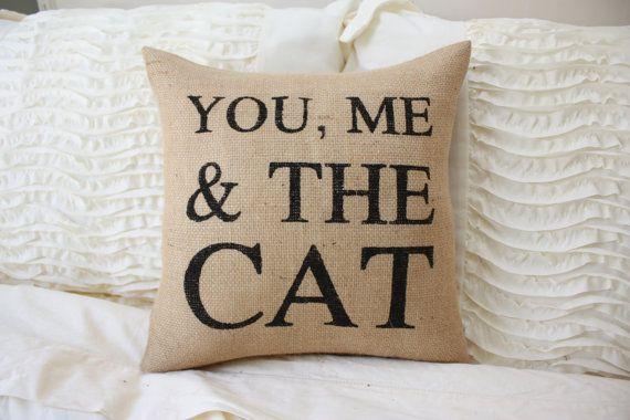 Burlap Pillow / You Me & Cat / Cat Pillow / by TheSunnyHunnyBee