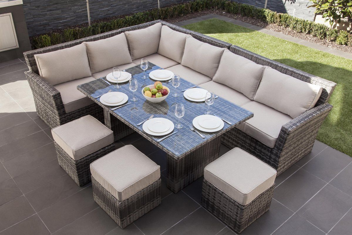 Dengler 8 Piece Rattan Sectional Seating Group Set With Cushions