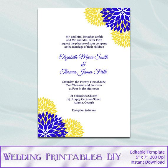 Royal Blue And Yellow Wedding Invitation Template