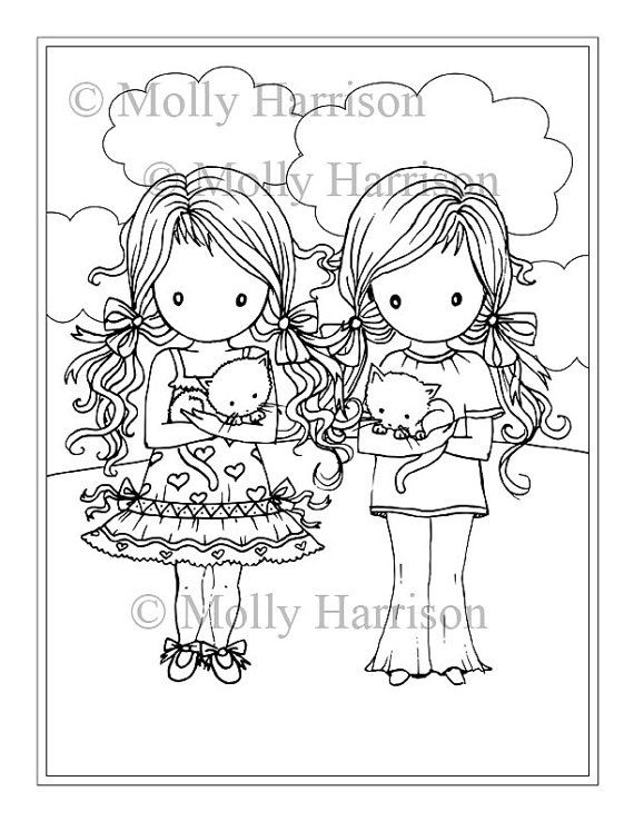 Little twin girls with kitties coloring page printable whimsical molly harrison fantasy art instant download