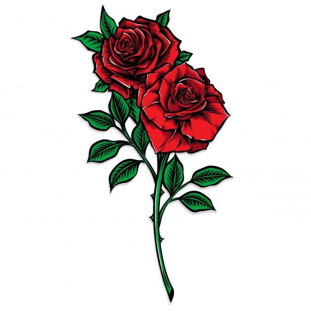 Red Rose Stem Vector Illustration Premium Vector Freepik Vector Flower Floral Flowers Design In 2020 Rose Illustration Vector Art Design Red Roses