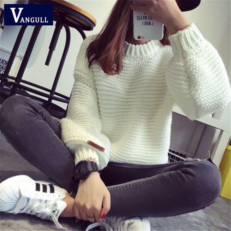 37b2586cb44 Женщин корейской свитер толстый грубой шерсти вязаные топы мода свободного…