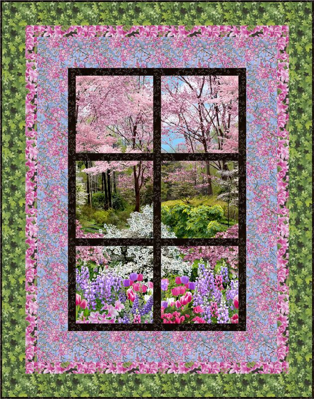 FREE PATTERN >> Outside My Window, Next Step Quilt Designs. Botanic Garden - Timeless Treasures ...