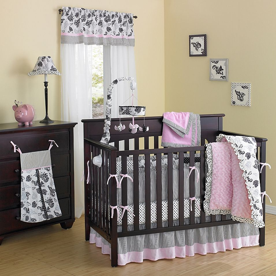 New Country Home Laugh Giggle Smile Versailles Pink Minky Plush 10 Piece Crib Bedding Set Pink Ivory Pink Crib Bedding Baby Crib Bedding Sets Baby Crib Bedding