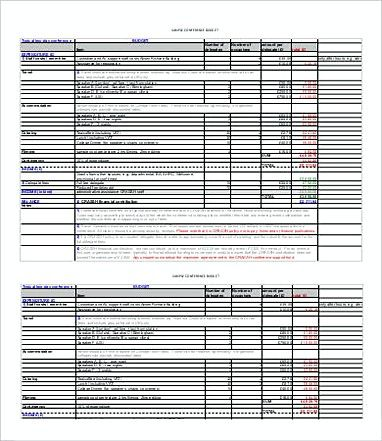 Typical Two Day Conference Budget 8 Conference Budget Template