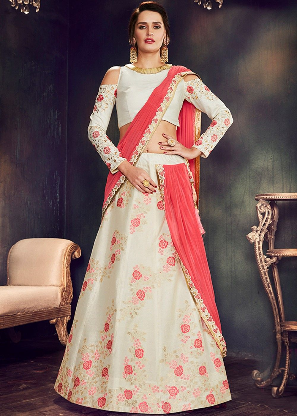 80bfde5c96176d Off  White Cold Shoulder  Lehenga  Choli with  Dupatta