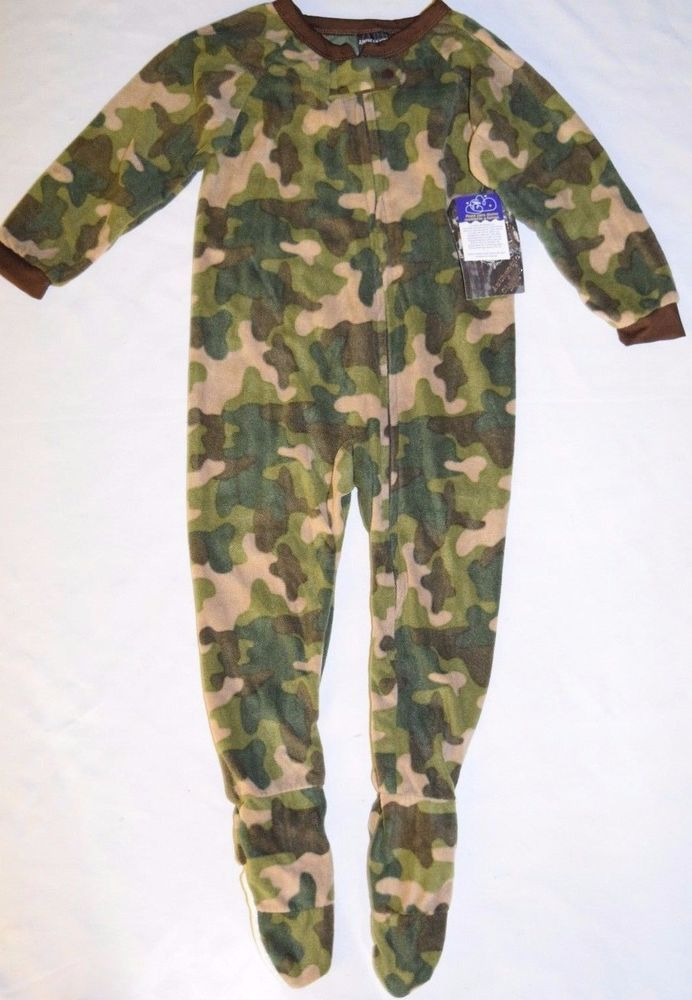 #BoysClothes Footed Sleeper PJs Pajamas Soft Fleece #Camouflage #Camo Size 4 Zip Up Footie NEW #Pajamas