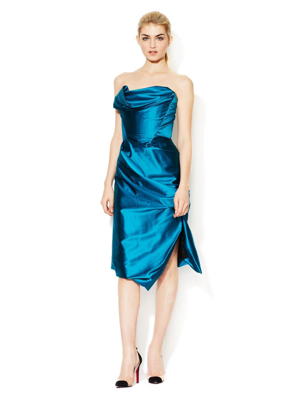 Gold label silk satin strapless dress by vivienne westwood