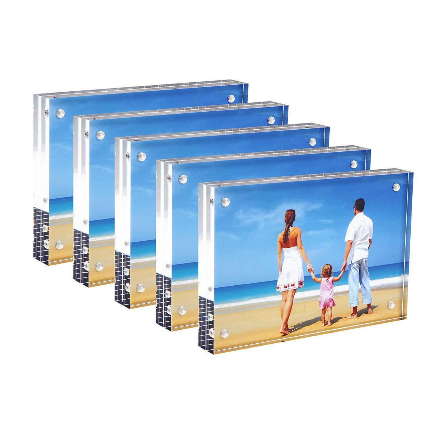 Amazon Com Bulk Acrylic Picture Frames 4x6 Clear Double Sided Block Set With Gift Box Package Desktop Frameless Acryli Magnetic Photo Frames Acrylic Picture Frames Acrylic Photo Frames