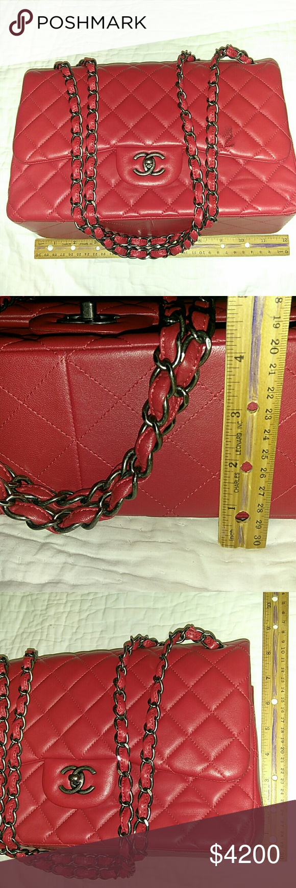 929a21019af184 Chanel Classic caviar double flap red bag Only used 2 times, it's still in  perfect condition. Classic Chanel caviar Double flap bag in red color.