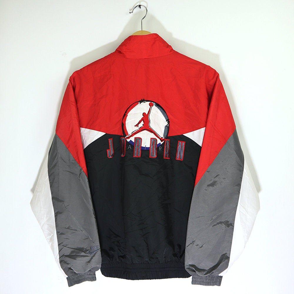 Vintage 90s Nike Air Jordan Windbreaker Jacket Multi Color Etsy Windbreaker Jacket Vintage Jacket Outfit Air Jordans