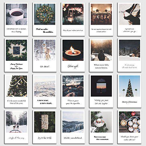 Set De 20 Tarjetas Postales Navidad Con Frases De Navidad