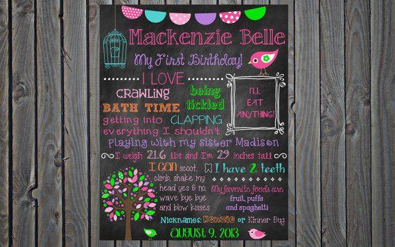 any color custom printable birthday chalkboard poster board sign