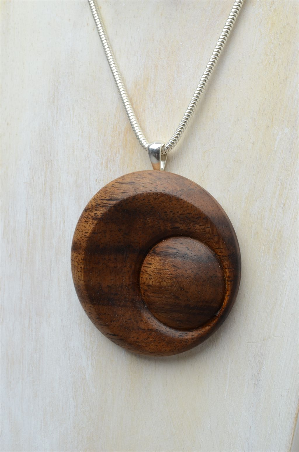 Genuine Koa Wood Hawaiian Jewelry Spiral Pendant Choker//Necklace  # 45023