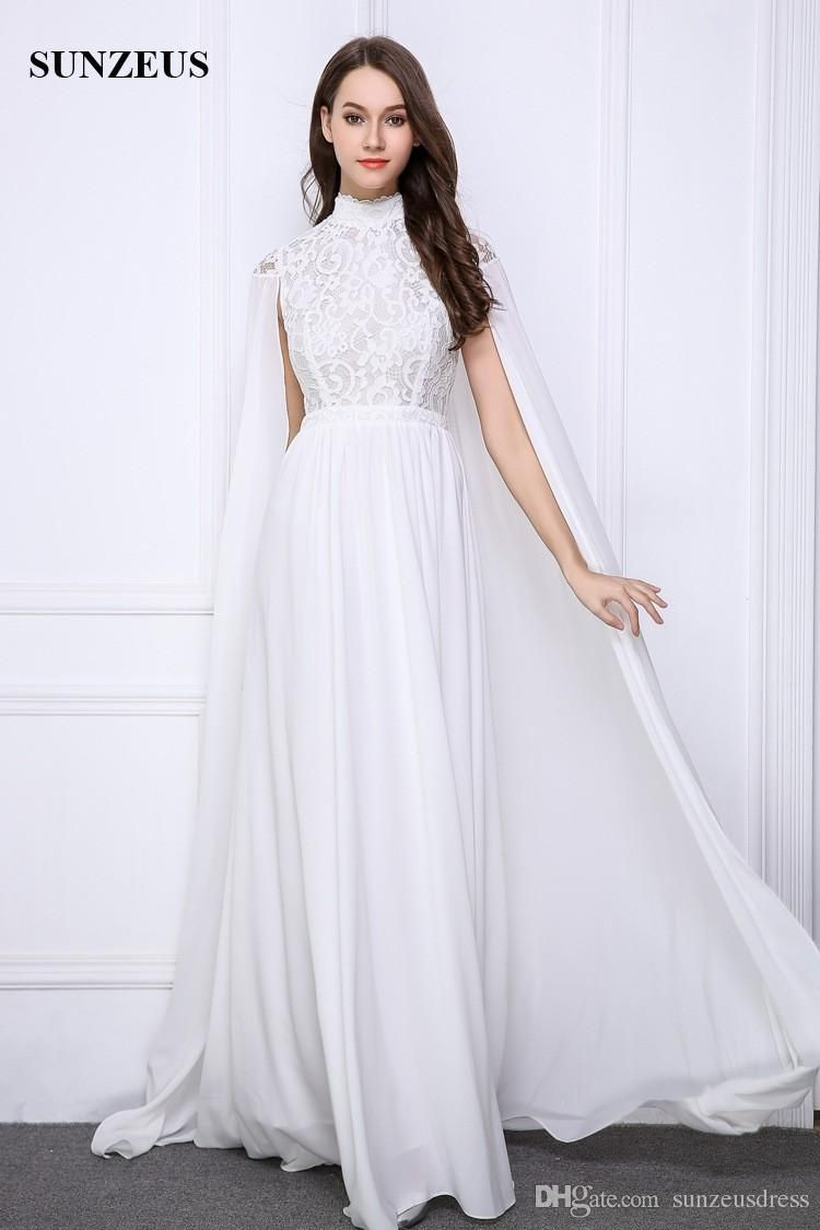 76481a2701ee7 Long White Evening Gowns Lace High Neck Formal Dresses With Long ...