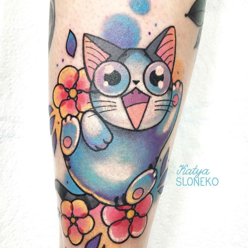 Katya Slonenko and Her Cartoony NeoTraditional Tattoo