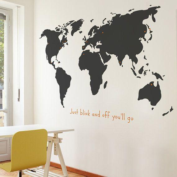 World wall decal grey the armchair traveller pinterest wall world wall decal grey gumiabroncs Gallery