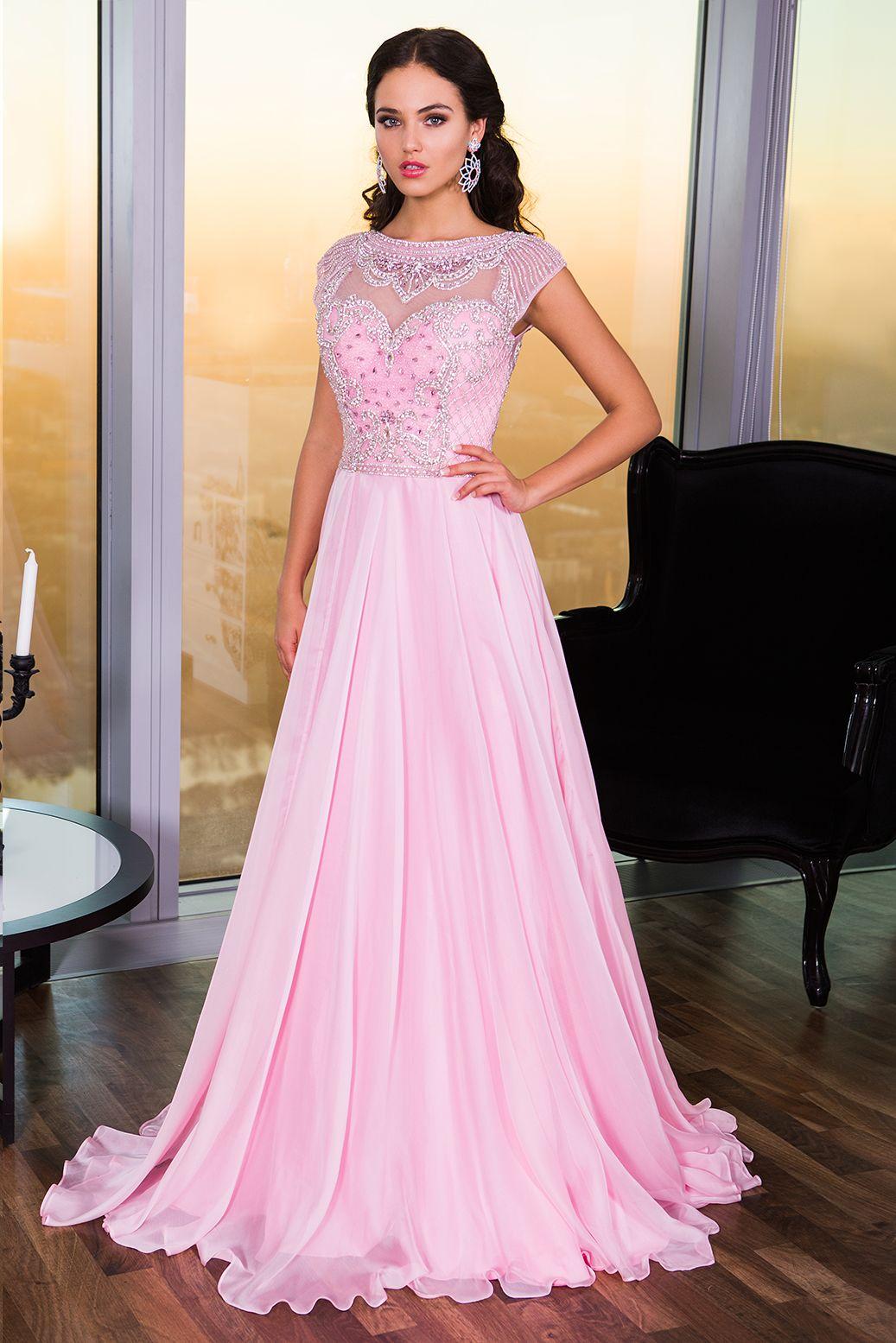 Pink Cap Sleeve Dress 21030 Prom Dresses Light pink