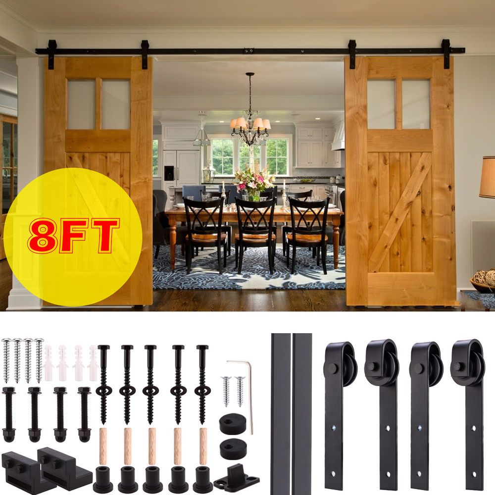 Details About 6 8 10ft Steel Sliding Barn Door Rollers Hardware Track Kit Double Wood Closet Rustic Interior Barn Doors Barn Door Glass Barn Doors