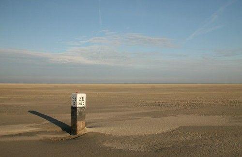 Ameland, island at the Waddensea, Holland. Paal 25 Ameland.