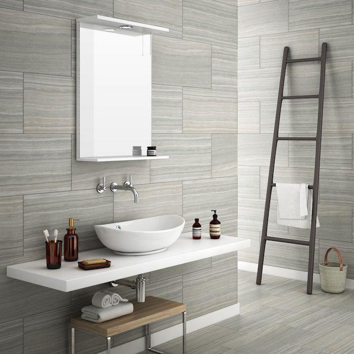 carrelage gris marbre mural et sol pour salle de bain classique - Salle De Bain Moderne Grise